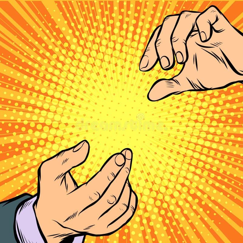 Dwa męskiej ręki otwierają gest royalty ilustracja