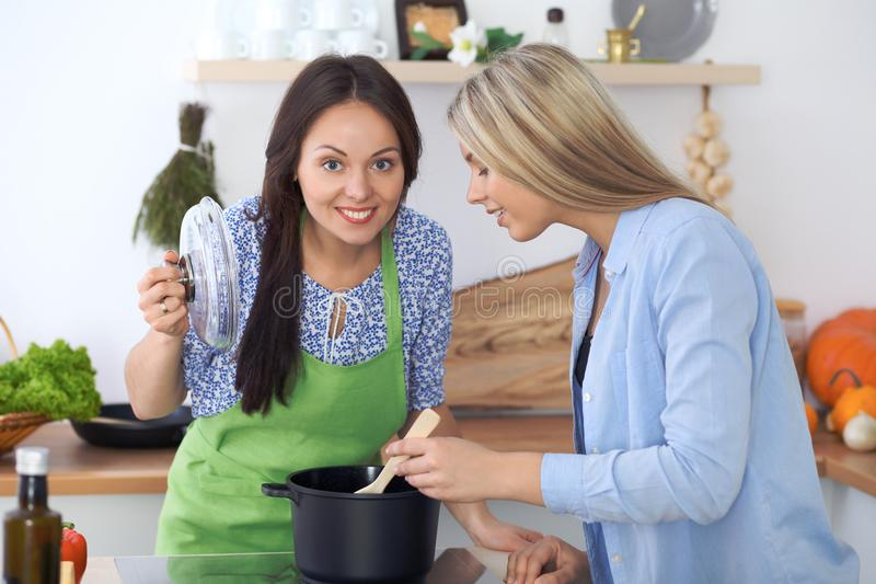 Dwa młoda szczęśliwa kobieta robi gotować w kuchni Przyjaźń i kulinarny pojęcie obraz stock