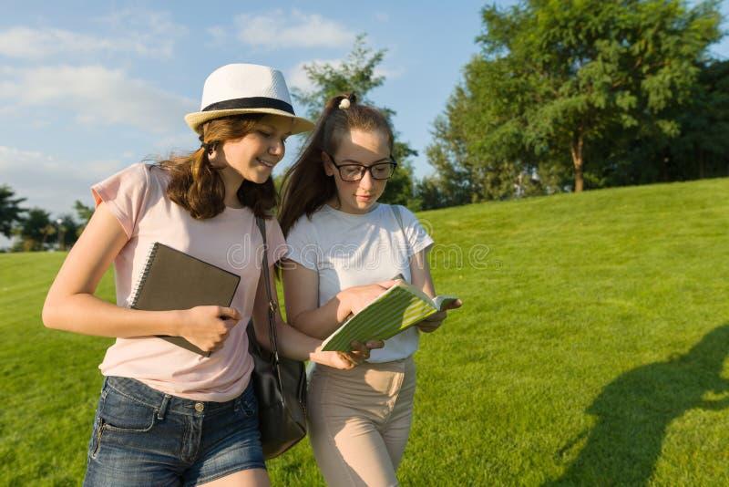 Dwa młodego żeńskiego ucznia z plecakami, książki iść przeciw tłu zielony gazon, park zdjęcie stock
