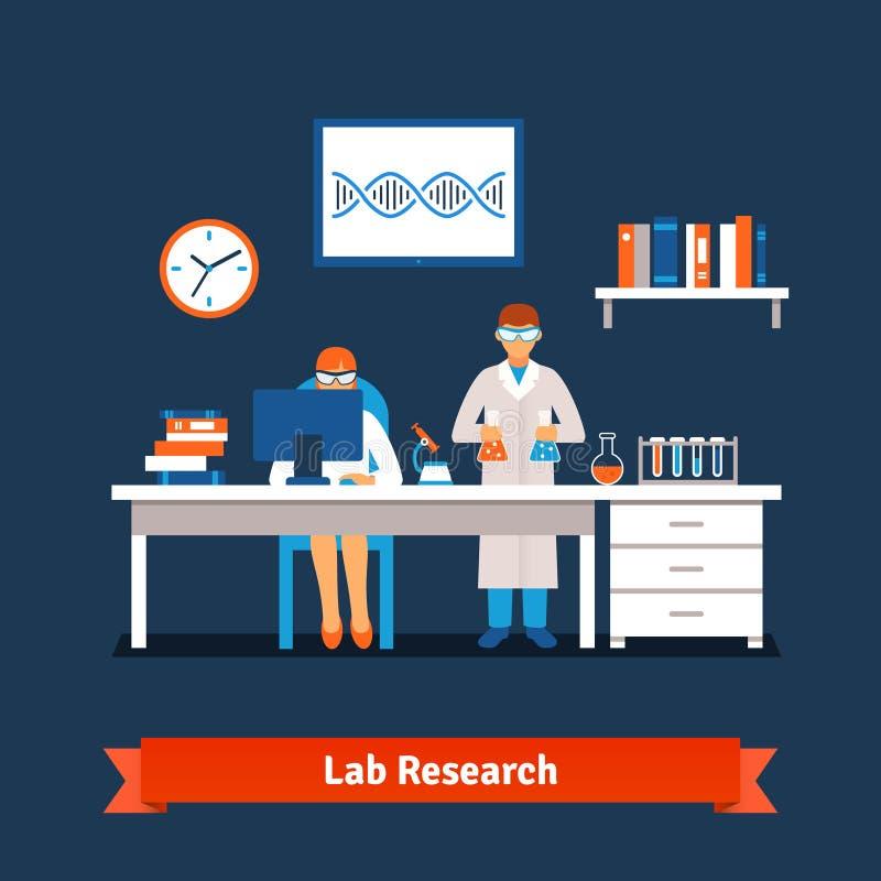 Dwa młodego chemia naukowa pracuje w lab ilustracji