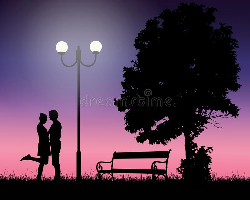 Dwa młodego kochanka obejmuje pod drzewem i olśniewającą lampą z ilustracja wektor