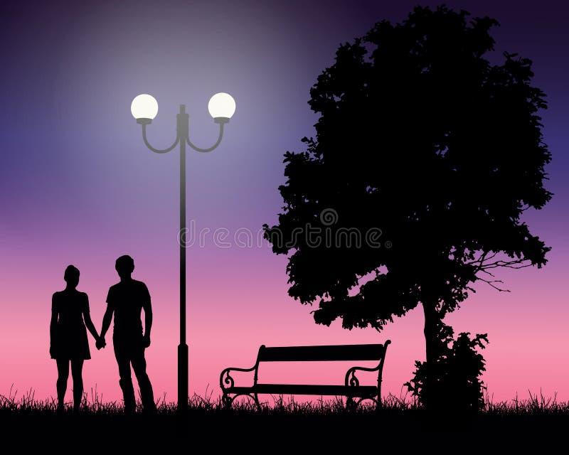 Dwa młodego kochanka trzyma ręki pod drzewem i rozjarzoną lampą z royalty ilustracja