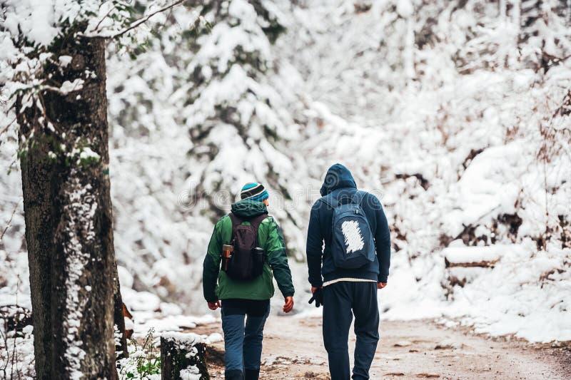 Dwa młodego podróżnika mężczyzny z plecakiem chodzą śnieżną drogę w zima sezonie Zakopane widok z powrotem obraz royalty free