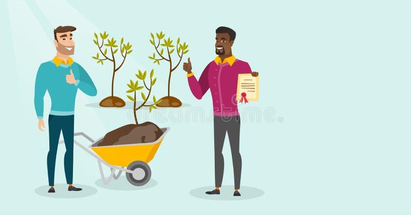 Dwa młodego wielokulturowego mężczyzna rośliny drzewa ilustracji