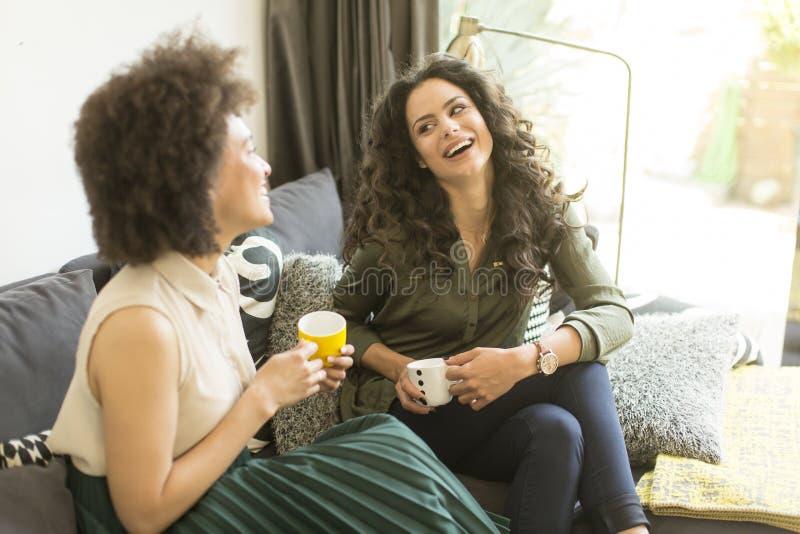 Dwa młodej dziewczyny siedzi na kanapie w izbowym, pijący kawę zdjęcie royalty free