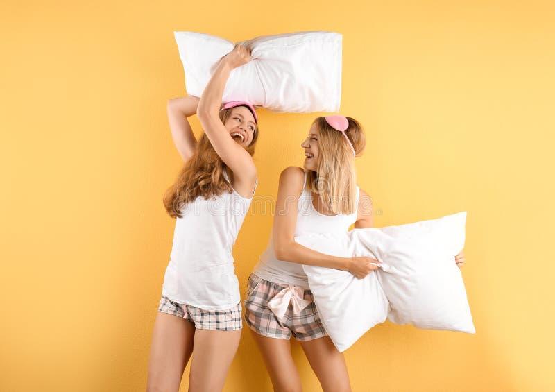 Dwa młodej kobiety ma poduszki walkę fotografia stock