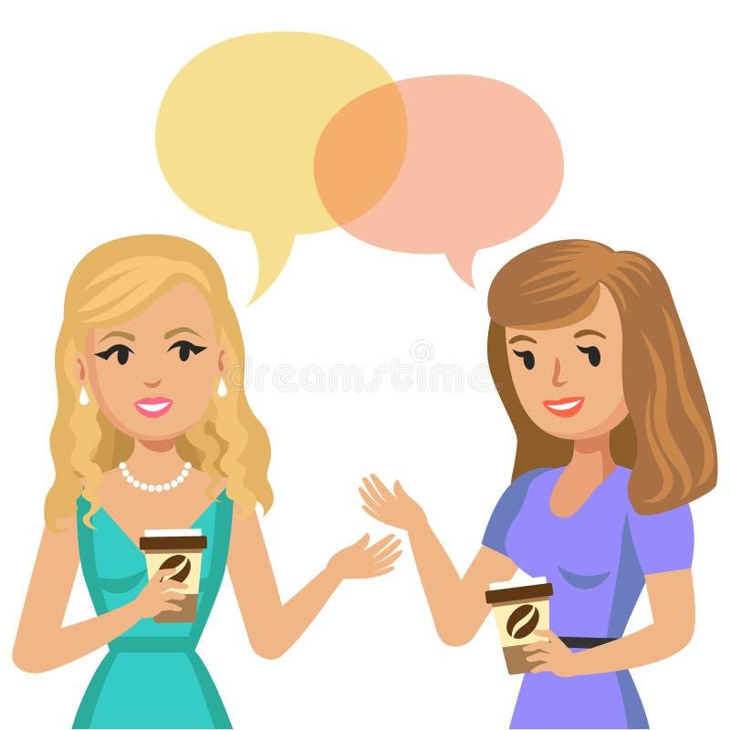 Dwa młodej kobiety opowiada w kawiarni target467_0_ kobiety dwa potomstwa cukierniane dziewczyny plotkują instreet obsiadanie Spo royalty ilustracja