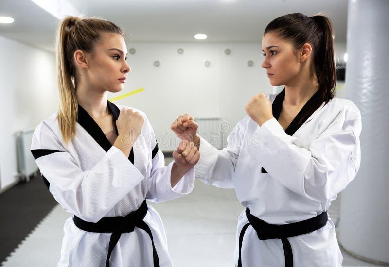 Dwa młodej kobiety przygotowywa dla zacierać się Taekwondo i ćwiczyć zdjęcie royalty free