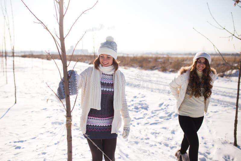 Dwa młodej szczęśliwej kobiety, dwa przyjaciela, mieć zabawę obraz royalty free