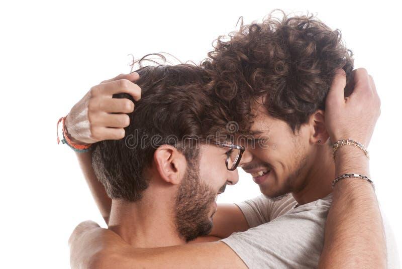 Dwa młodych człowieków szczęśliwy portret zdjęcie royalty free