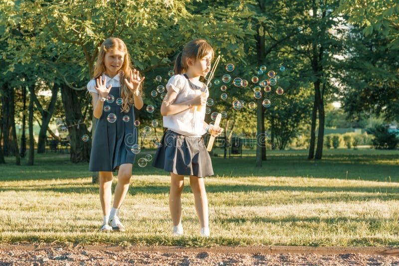 Dwa mała dziewczynka przyjaciół uczennica 7, 8 lat sztuka z mydlanymi bąblami na łące w parku fotografia royalty free