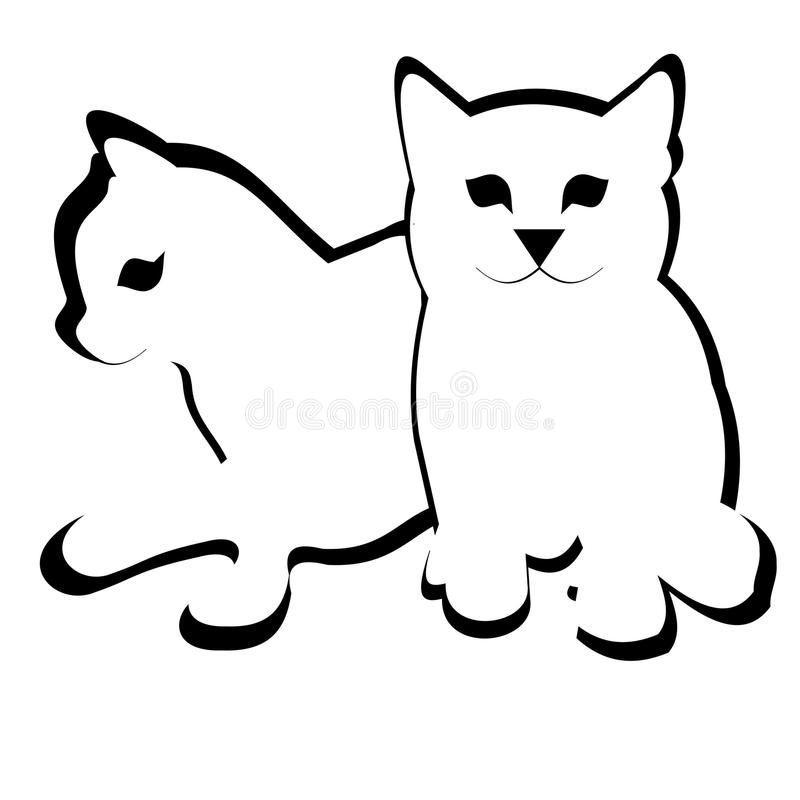 Dwa małego kota śliczna kreskówka zdjęcie stock
