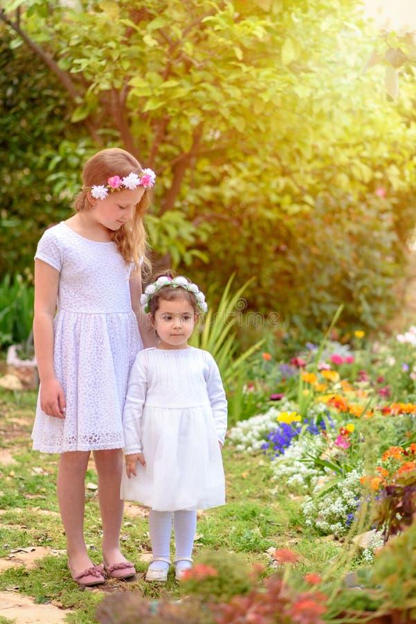 Dwa małej dziewczynki w białych sukniach i kwiatu wianku ma zabawę lato ogród fotografia royalty free