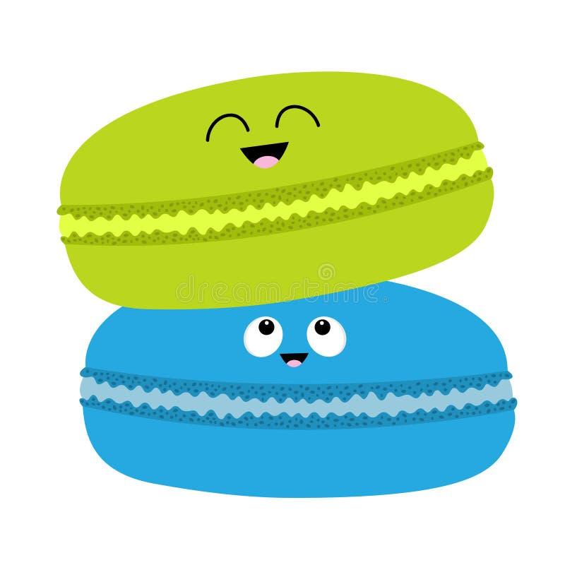 Dwa macaron lub macaroon ikona Słodcy piekarni ciasta ciastka ustawiający z twarzą Ślicznej kreskówki charakteru uśmiechnięta kol ilustracji