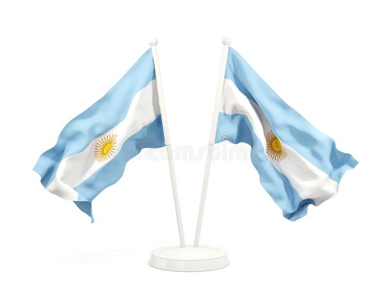 Dwa machają flaga Argentina ilustracja wektor