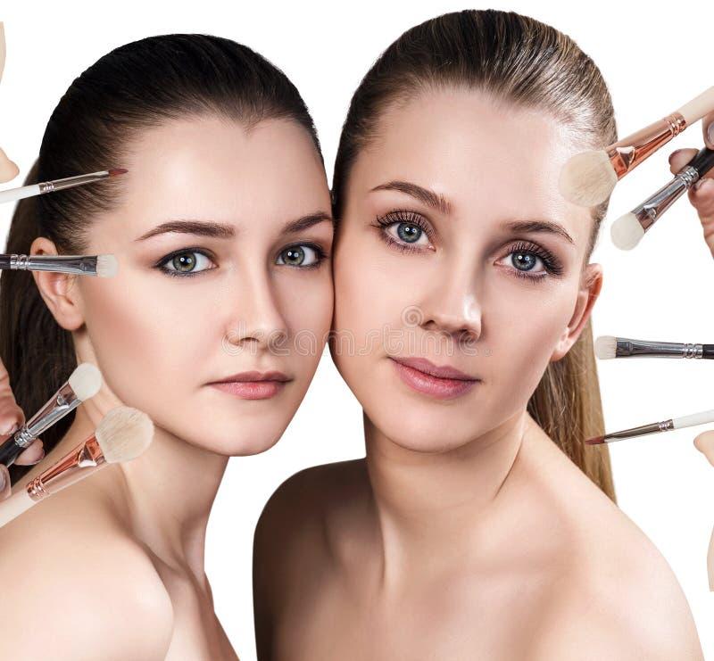 Dwa makeup muśnięcia i młode kobiety fotografia stock