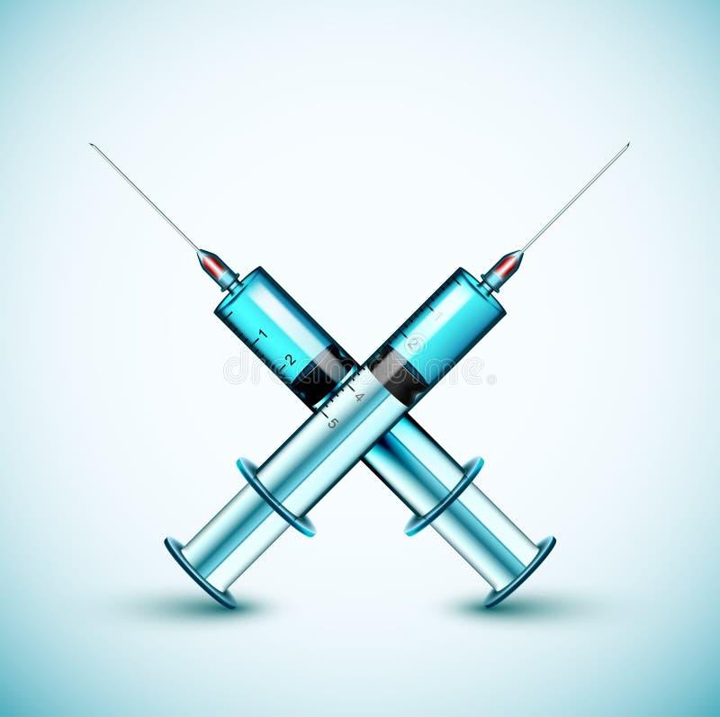 Dwa medyczna strzykawka ilustracja wektor