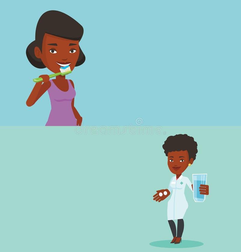 Dwa medycznego sztandaru z przestrzenią dla teksta ilustracji