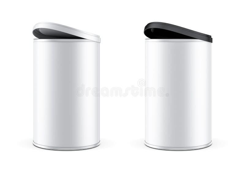 Dwa metali Blaszana puszka pakuje Mockup z czarny i biały plastikową dekiel pokrywą ilustracji