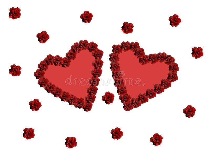 Dwa miłość serce na Białym tle dla valentines dnia, zdjęcia royalty free
