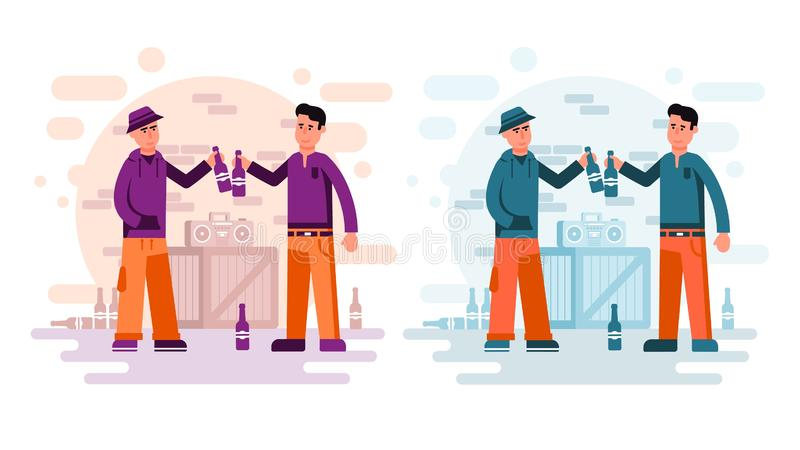 Dwa miasto faceta pije piwo od butelek ilustracji