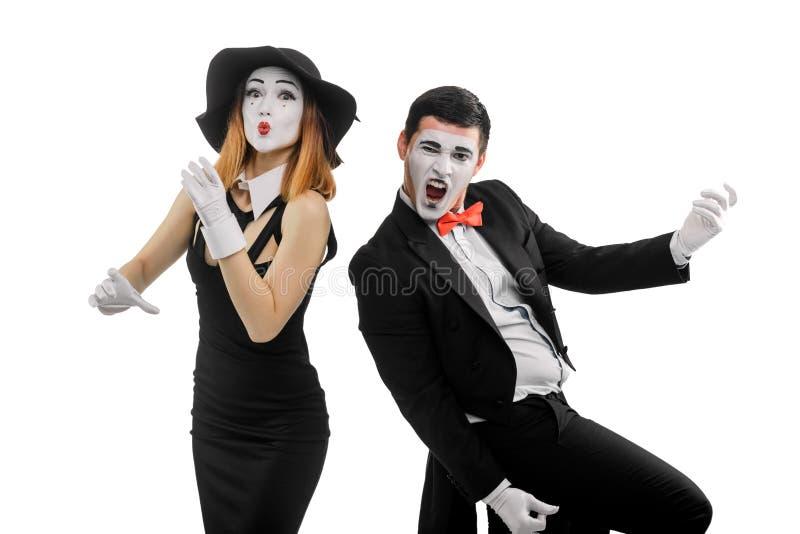 Dwa mima jako muzycy obrazy stock