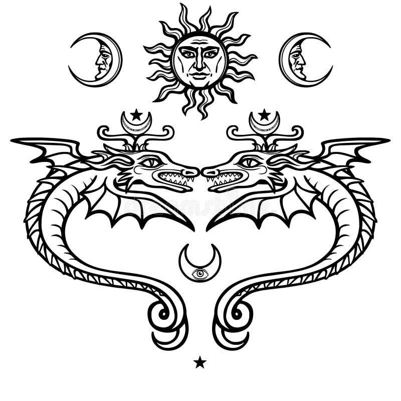 Dwa mistycznego oskrzydlonego węża Alchemical symbole Religia, mistycyzm, okultyzm, czarnoksięstwo ilustracja wektor