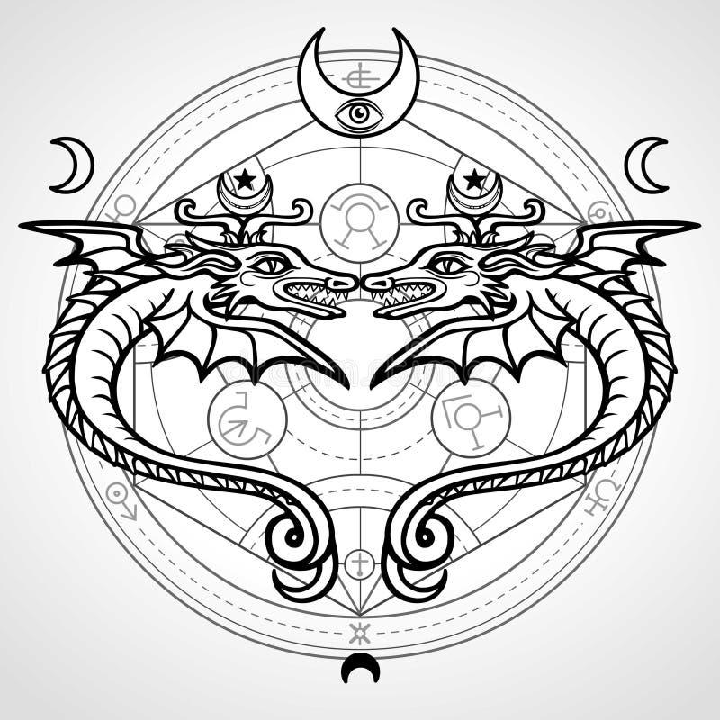 Dwa mistycznego oskrzydlonego węża Tło - Alchemical okrąg Religia, mistycyzm, okultyzm, czarnoksięstwo royalty ilustracja