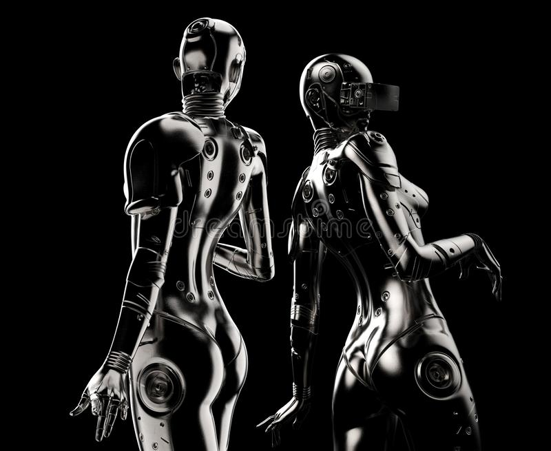 Dwa moda robota na czarnym tle ilustracji