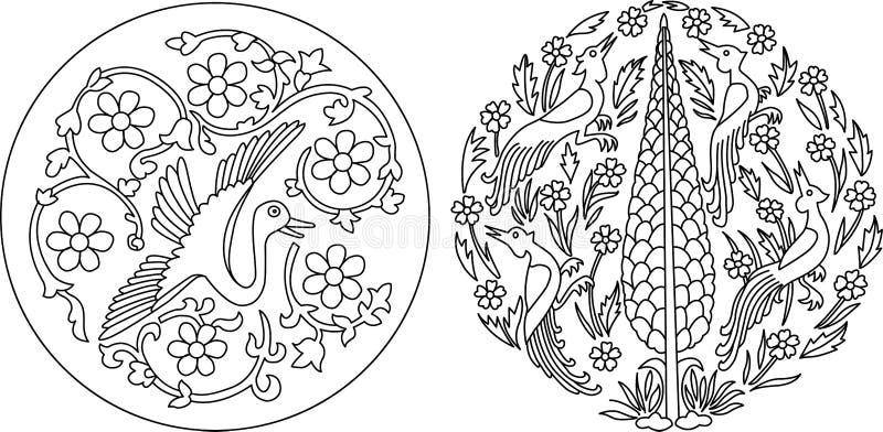 Dwa motywu eleganckiego Indiańskiego motywu ilustracji