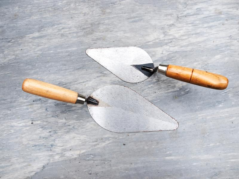 Dwa murarzów kielnia fotografia stock