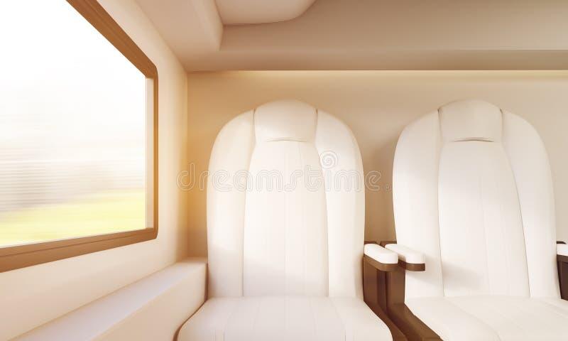 Dwa nasłonecznionego bielu krzesła w przedziale ilustracji