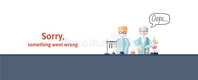 Dwa naukowa prowadzi test w laboratorium Tekst ostrzegawcza wiadomość, zmartwiona coś pójść źle Oops 404 błędów strona ilustracja wektor