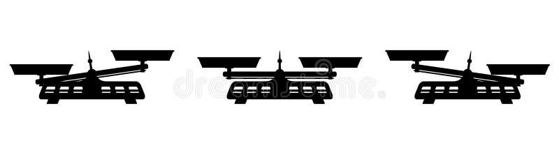 Dwa niecek równowagi ciężaru czerni Różna ikona ilustracji