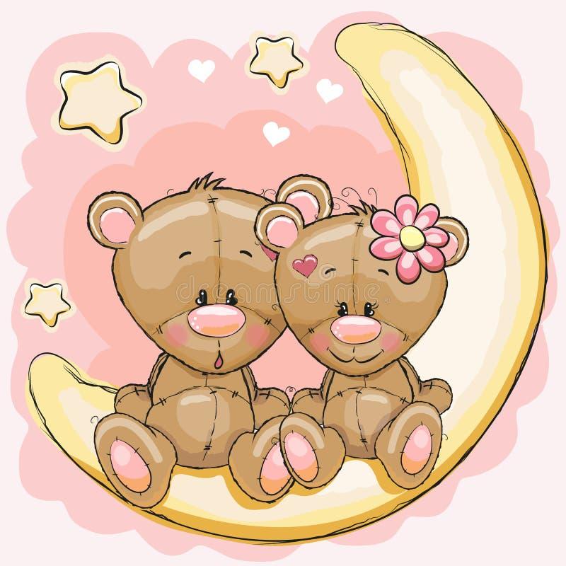 Dwa niedźwiedzia na księżyc royalty ilustracja