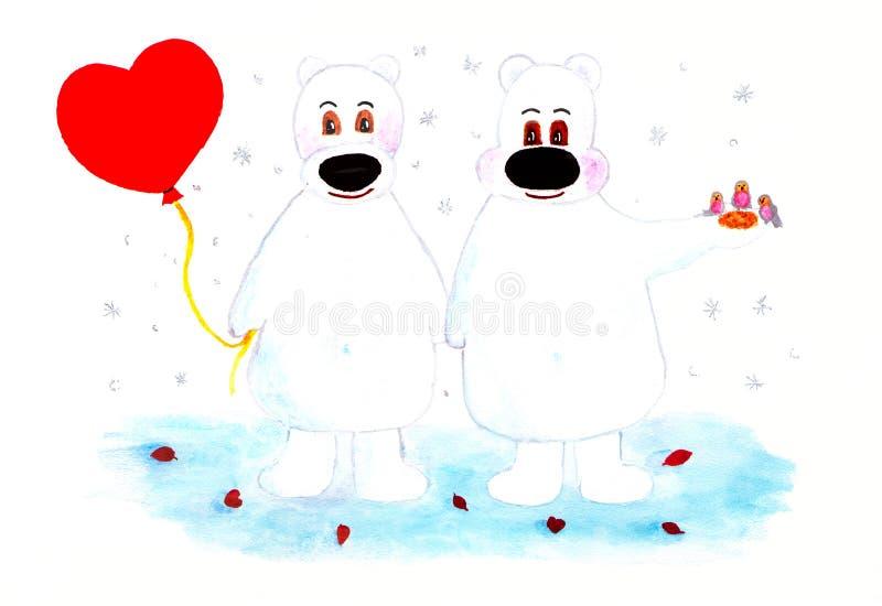 Dwa niedźwiedzia polarnego i balonowego serce pary dzień ilustracyjny kochający valentine wektor royalty ilustracja