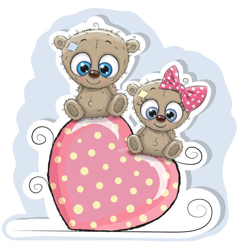 Dwa niedźwiedzia siedzą na sercu royalty ilustracja