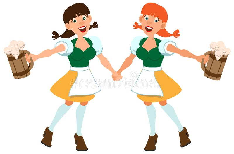 Dwa niemiec dziewczyny chwyta piwo w drewnianym kubku Oktoberfest wakacje ilustracja wektor