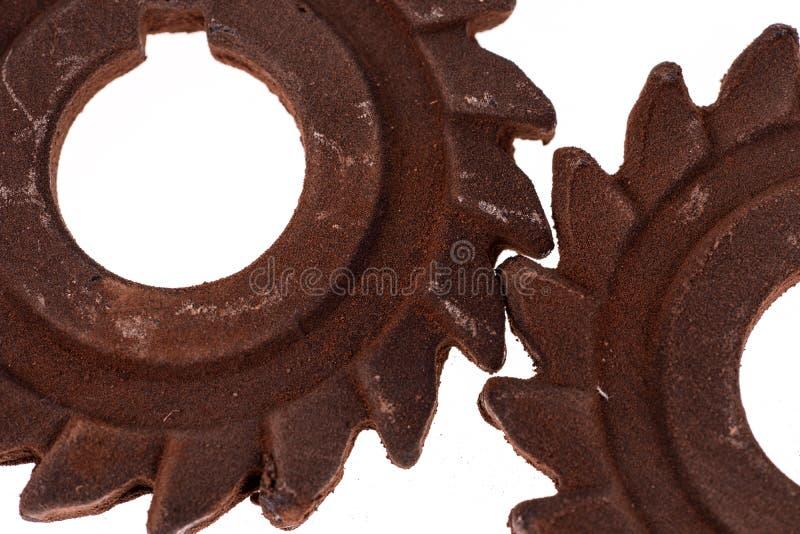 Dwa nieprawdopodobnej ośniedziałej czekolady przekładni fotografia stock