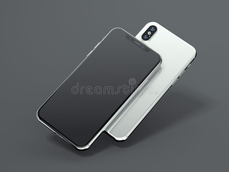 Dwa nowożytnego smartphones świadczenia 3 d ilustracja wektor