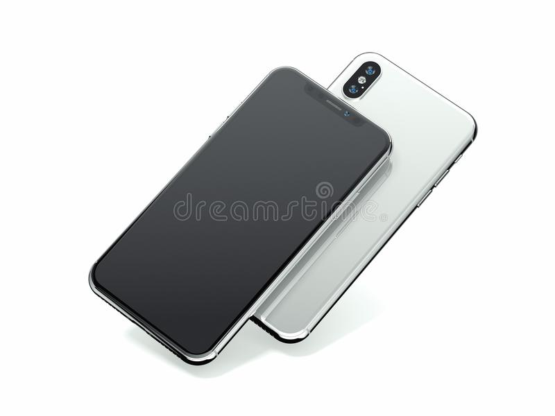 Dwa nowożytnego smartphones odizolowywającego na bielu świadczenia 3 d royalty ilustracja
