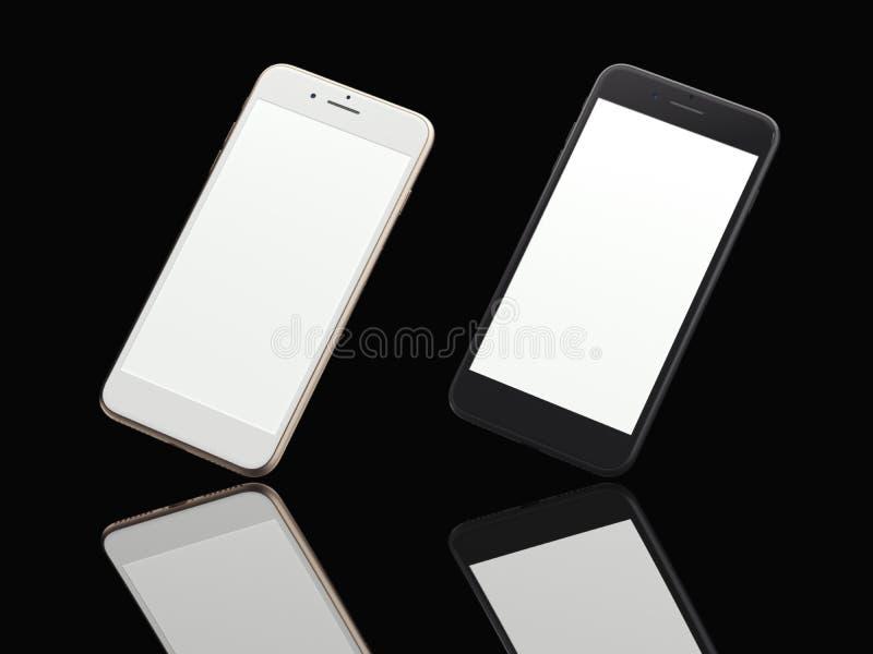 Dwa nowożytnego smartphones w czarnym studiu świadczenia 3 d royalty ilustracja