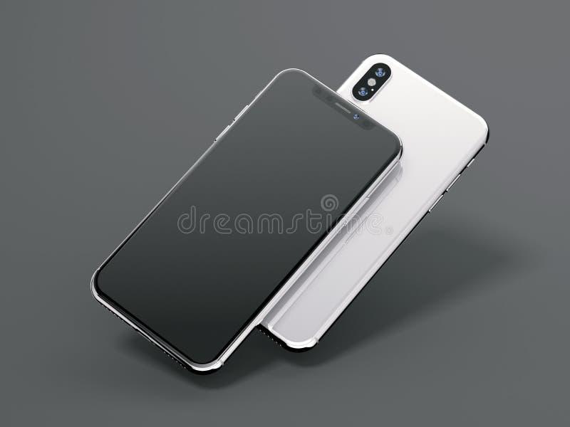 Dwa nowożytnego smartphones z pustym ekranem świadczenia 3 d ilustracji
