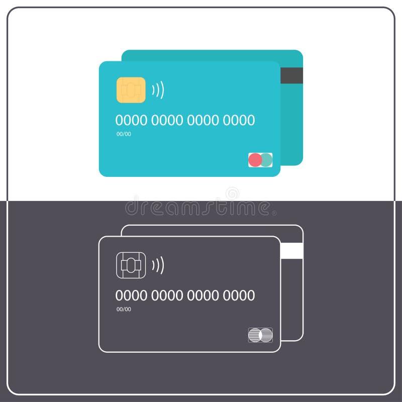Dwa nowożytnej plastikowej karty kredytowej Set mieszkania i konturu stylu gotówki wektoru ikony Deponować pieniądze i pieniężna  ilustracja wektor