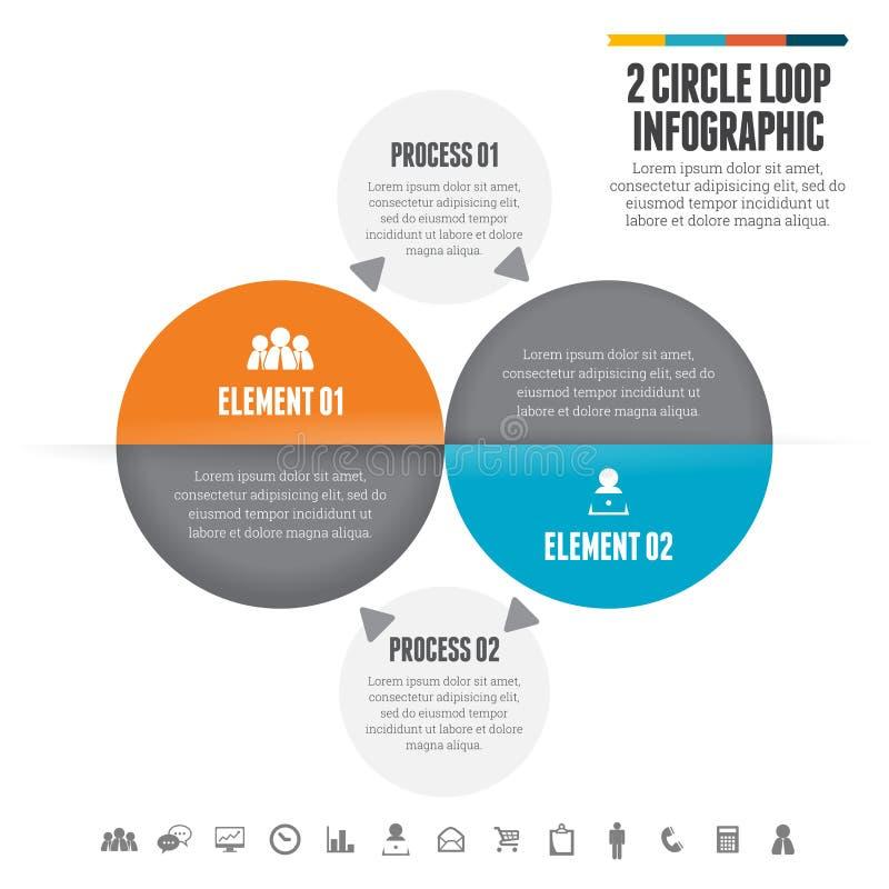 Dwa okregów pętla Infographic ilustracja wektor