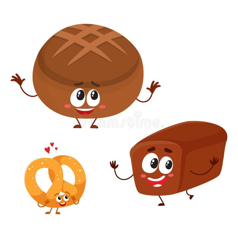 Dwa ono uśmiecha się śmieszna cała banatka, zmrok, brown chleba bochenka charaktery ilustracji