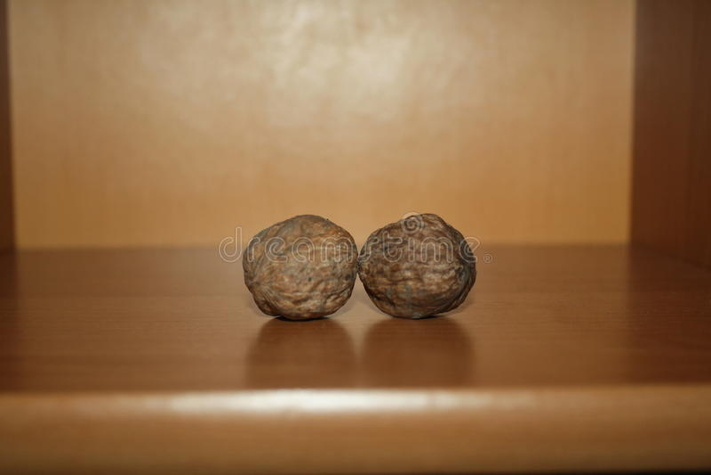 Dwa orzecha włoskiego na drewnianym stole fotografia stock