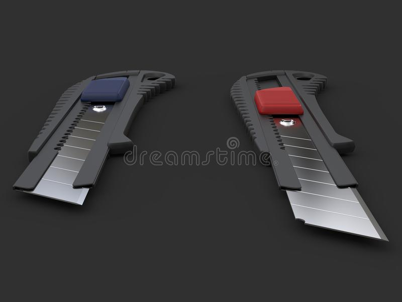 Dwa oszczędnościowego noża - zbliżenie strzał na poradzie ostrza ilustracja wektor