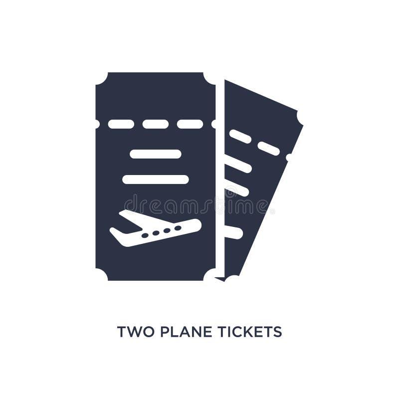 dwa płaskich biletów ikona na białym tle Prosta element ilustracja od lotniskowego śmiertelnie pojęcia royalty ilustracja