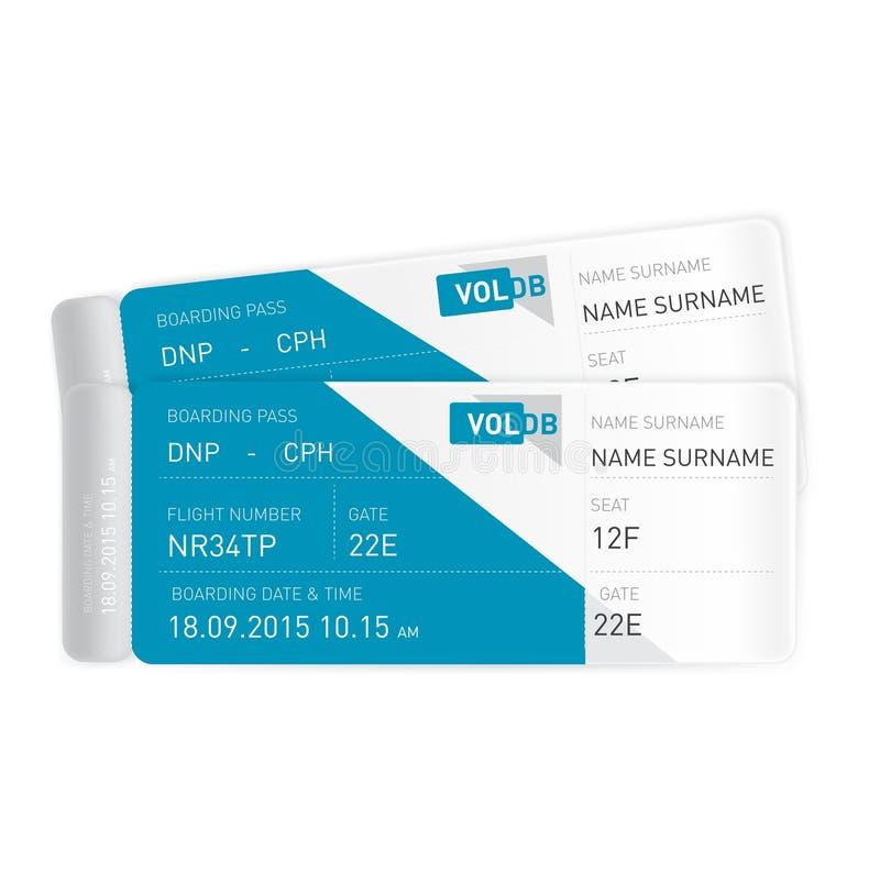 Dwa płaskiego bileta odizolowywającego na bielu ilustracji